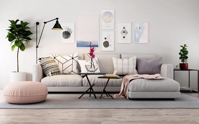 北欧沙发组合 北欧多人沙发 转角沙发 茶几 坐垫 植物 壁灯 边几 挂画 抱枕