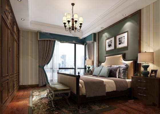 美式卧室3D模型 双人床 衣柜 床头柜 台灯 沙发凳