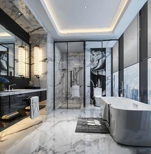 现代卫生间 现代卫浴 浴缸 洗手台 镜子 壁灯 毛巾 花艺 淋浴间