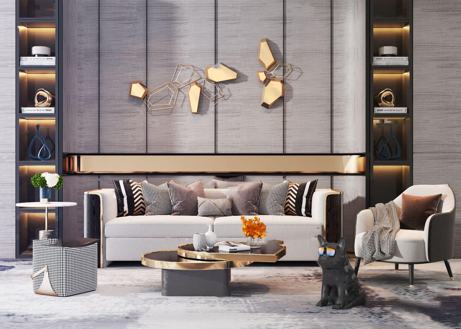 现代轻奢组合沙发3d模型