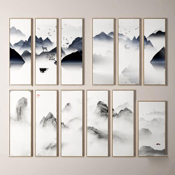 新中式水墨山水装饰画3d模型