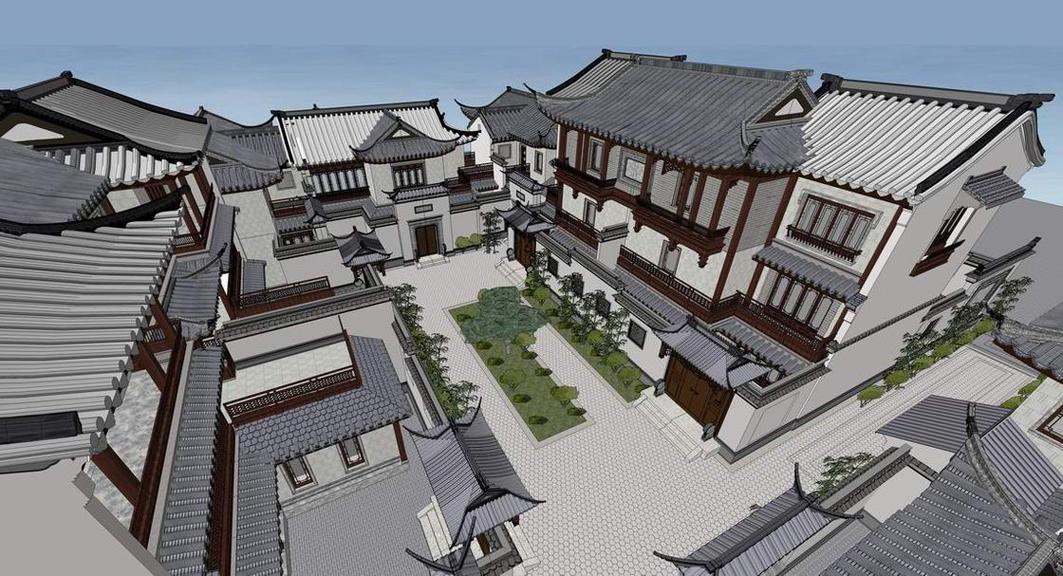 中式仿古别墅SU模型