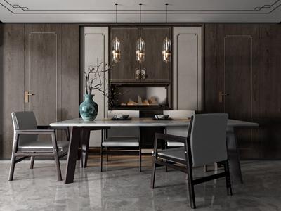 新中式餐桌椅 新中式餐桌椅 餐桌 单椅 吊灯 花瓶