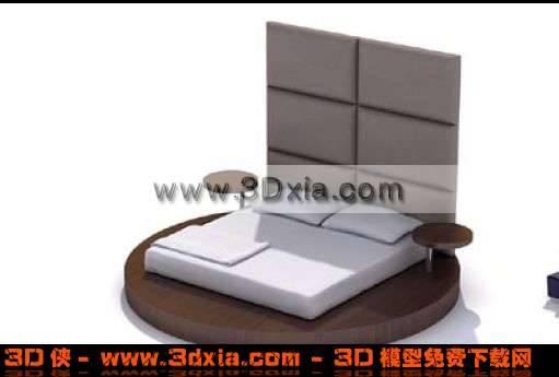 3D时尚独特的双人圆床模型