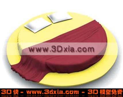 3D时尚多彩的双人圆床模型下载