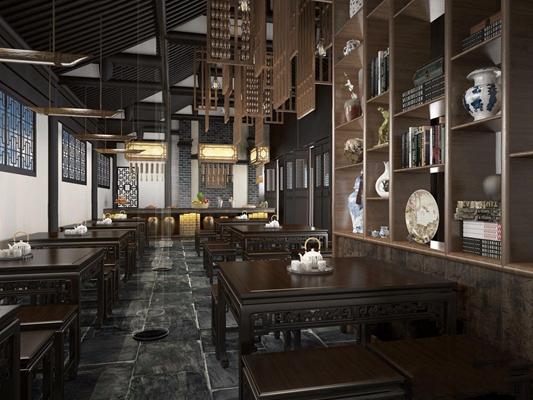 中式餐饮店 中式餐饮空间 装饰架 吊灯 中式摆件 吧台 中式门