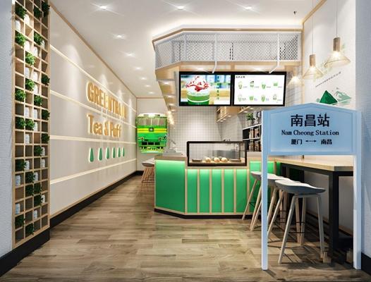 北欧茶饮店 北欧餐饮空间 北欧饮品店 收银台 门头 吧台 吧椅 单头吊灯 水吧台 摆件