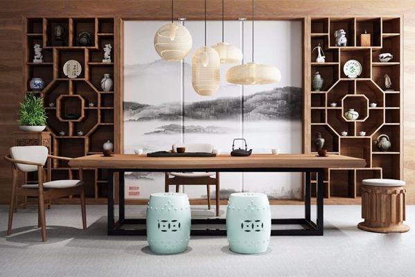 新中式茶桌 新中式茶桌 书桌 吊灯 椅子 植物 盆栽 坐几 原几 茶壶 摆设