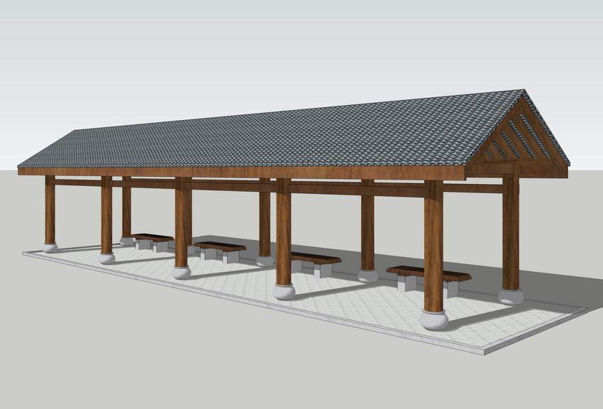 中式廊架SU模型