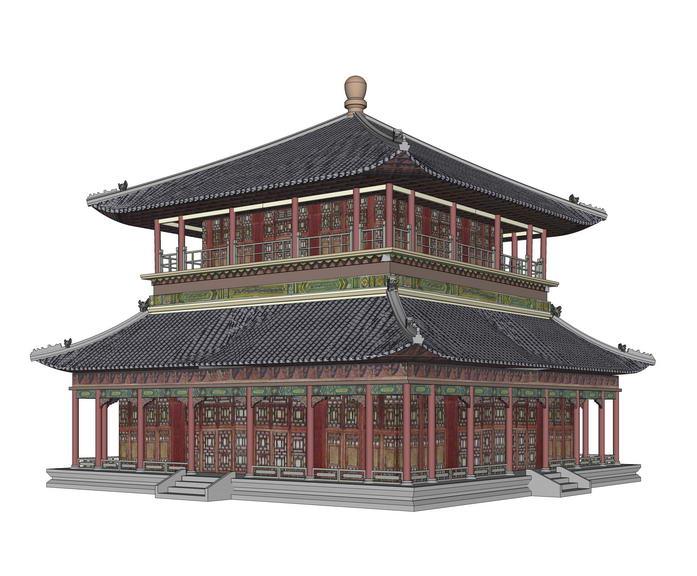 中式茶楼SU模型