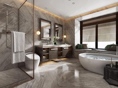 新中式卫生间 新中式卫浴 洗手台 浴缸 马桶 淋浴间 百叶帘 镜前灯 边几 兰花