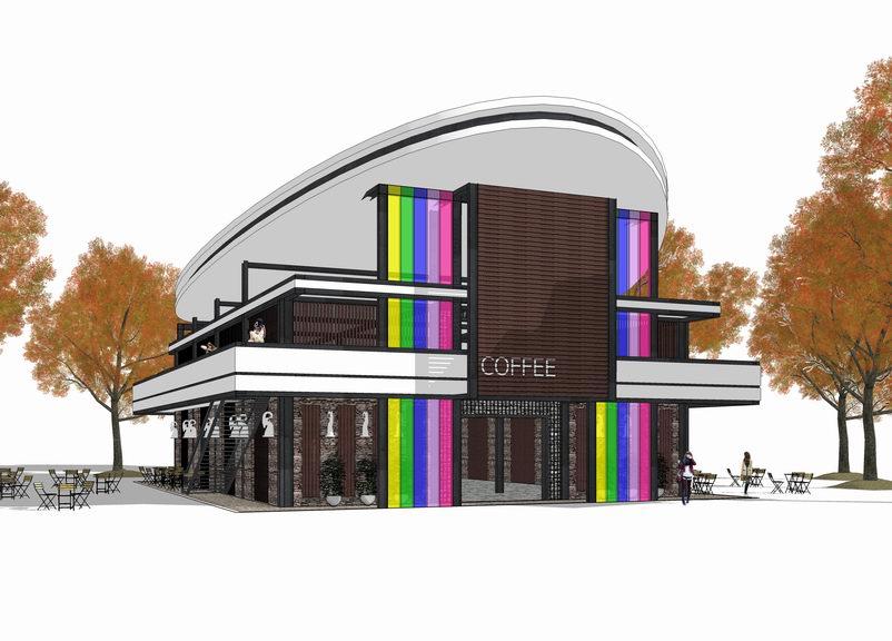 羌族安昌镇咖啡厅SU模型