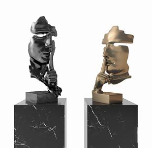 沉默是金人头摆件 现代雕塑 沉默是金 人头雕塑摆件 雕塑 装饰品
