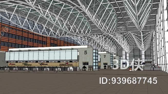机场大会堂(详细) 车站 建筑 图书馆 火车 商场
