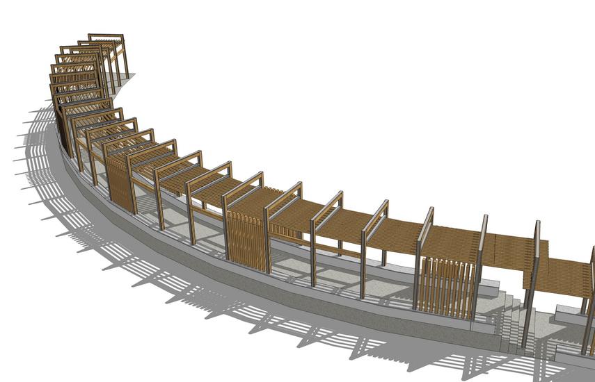 弧形廊架SU模型