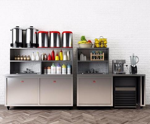 奶茶店柜子设备 现代厨房用品 奶茶桶 榨汁机 水果