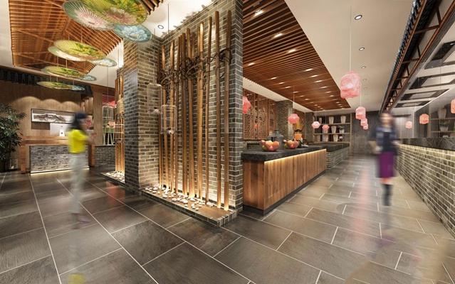 新中式餐厅 新中式餐饮空间 餐桌椅 收银台 卡座 圆餐桌 餐椅 单椅 柱子 吊灯