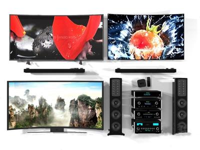 现代曲面电视音响遥控组合 现代家用电器 曲面电视 音响