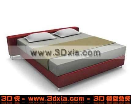 独特精美的3D双人木床模型