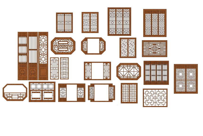 中式花窗SU模型