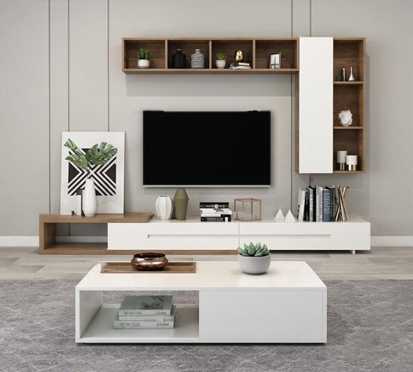 北欧原木电视柜茶几3d模型