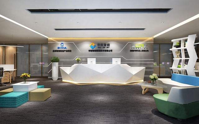 现代前厅接待 现代办公前台接待 异形前台 异形展架