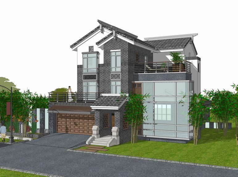 中式独栋别墅SU模型