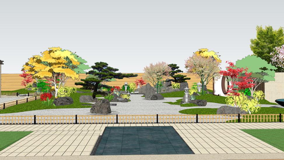 日式禪意庭院景觀SU模型