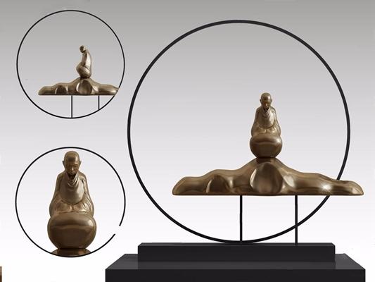 新中式装饰品 装饰品 和尚 摆件 雕塑