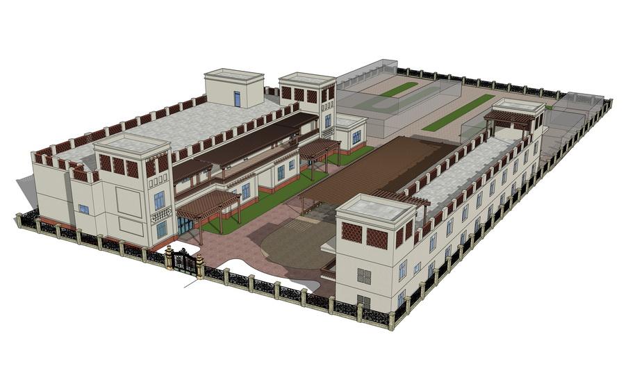 新疆风格建筑SU模型