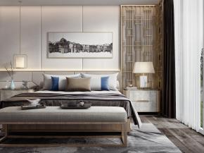 新中式双人床床头柜组合