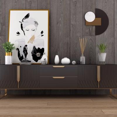 现代实木电视柜摆件组合3D模型