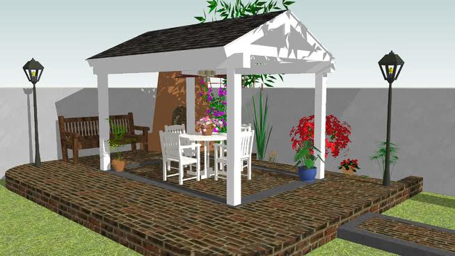 凉亭 室外 庭院 餐厅 杂物筐 餐桌