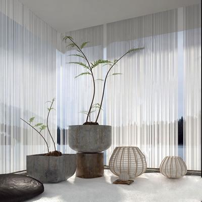 新中式植物摆件组合 新中式饰品摆件 盆栽盆景 风灯 树垛 石头