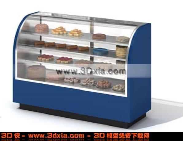 商场蓝色蛋糕柜3D模型
