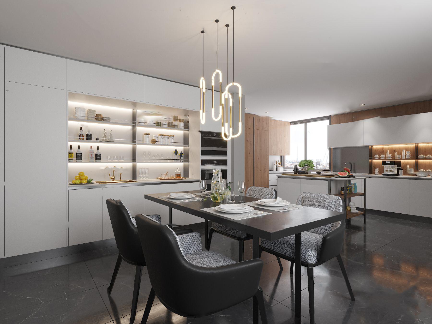 现代厨房橱柜餐桌椅3d模型