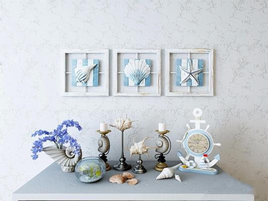 地中海装饰品 地中海装饰品 挂画 贝壳