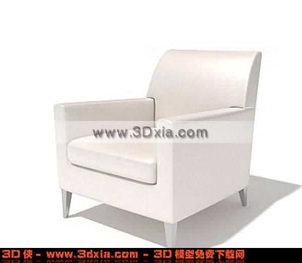 白色单人标准沙发3D模型