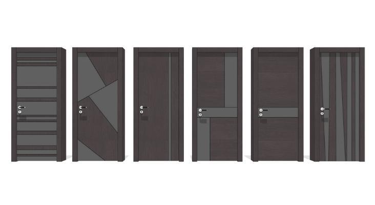 现代单开门门锁组合SU模型
