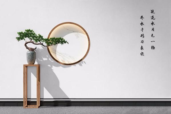 新中式摆件 新中式摆件 盆景 花架 背景墙
