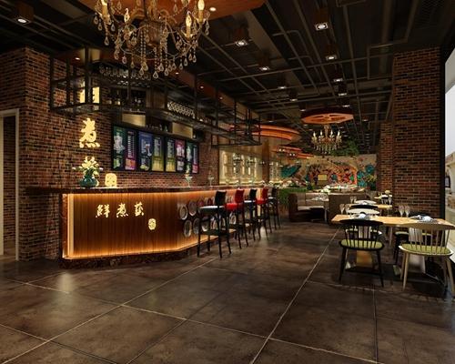 工业风餐厅 工业风餐厅 餐桌椅 吧台 吧椅 沙发 吊灯