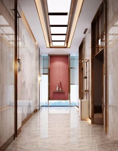 新中式電梯間 新中式其他 端景臺 吊燈 擺件