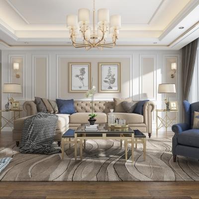 美式轻奢客厅3D模型