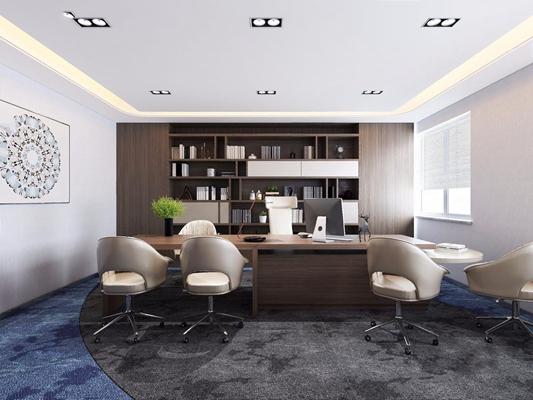 现代总经理办公室 现代办公室 班台 办公椅 挂画 壁柜 台灯 摆件 书