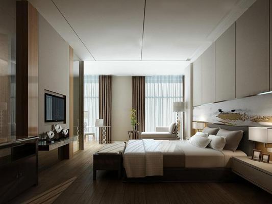 现代酒店客房标间3D模型
