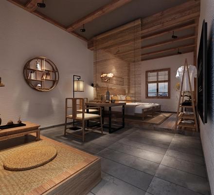 中式民俗客房双人间3D模型