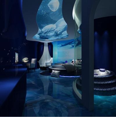 现代海洋主题客房情侣房3D模型