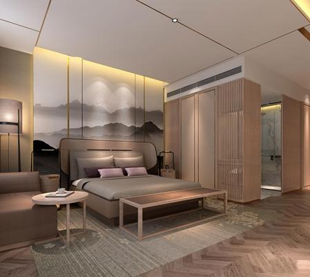 新中式酒店客房套房3D模型