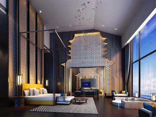新中式酒店套房3d模型