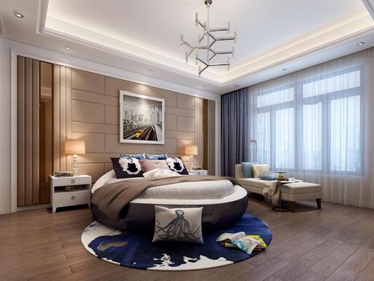 现代简约圆床卧室3D模型